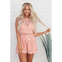 Style And Lace High Neck Romper (Coral)