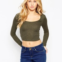 ASOS The Scoop Neck Top In Space Dye And Rib