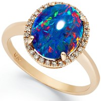 14k Rose Gold Ring, Opal Triplet and Diamond (1/10 ct. t.w.) Oval-Shaped Ring - Earrings - Jewelry & Watches - Macy's