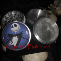 Jack Skellington Nightmare Before Christmas In Blue 4 Piece Grinder Herb Spice Aircraft Grade Aluminum C.N.C from Cognitive Fashioned