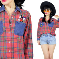 vintage 90s DISNEY plaid red embroidered Minnie Mouse Mickey Mouse denim cotton plaid button up blouse shirt grunge top XS small