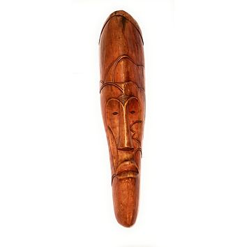 """🎁 ONE DAY SALE 18"""" African Gabon Cameroon Wood Fang Mask: Brown"""