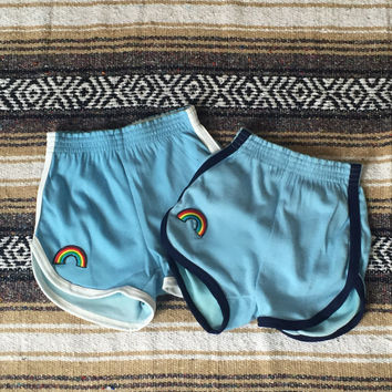 70s Rainbow Track Shorts Small XS true vintage 1970s gym shorts   striped with rainbow patch   high waisted booty shorts Athletic shorts 80s