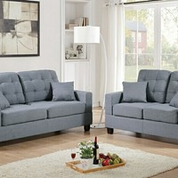 2 pc Collette collection grey faux linen fabric upholstered sofa and love seat set