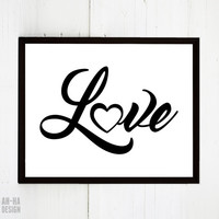 Love Cursive Lettering Graphic Print | Digital Download / Instant Download Wall Decor