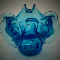 Heavily sculpted blue posy vase in bright kingfisher blue glass. Murano glass circa 1970s