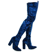Paw27 Royal Blue Slouchy Shimmering Velvet OTK Over The Knee Thigh Height Block High Heel Boots