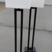 #2537 - Pair of Threshold Window Shaded Floor Lamps - Black/Cream