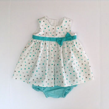 Polka Dot Baby Dress Sleeveless Empire Waist and Diaper Cover/Panties Newborn - 18 Months