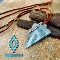 Native American arrowhead necklace, boho hippie style jewelry