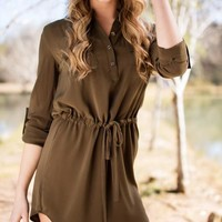 Martinis and Olive Dress with Drawstring