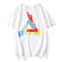 Palace triangle JCDC playing cards joint men and women wild cotton half-sleeved T-shirt  White