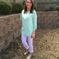 Sunny Day Blouse - 2 Colors Large Peach