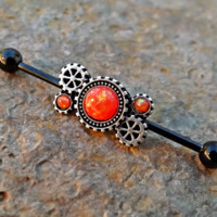 Fire Opal Orange Steam Punk Gears Industrial Barbell 14ga Upper Ear Piercing Body Jewelry