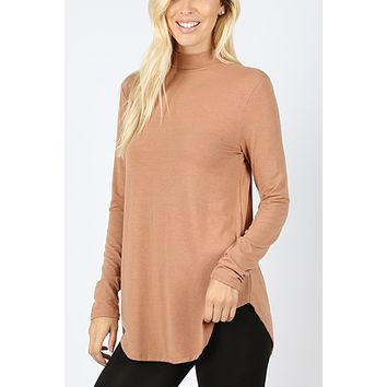 Relaxed Fit Mock Neck Long Sleeve Round Hem Top
