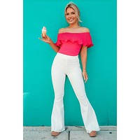 Chic Arrival Bodysuit: Hot Pink