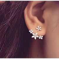 Silver Cz Flower Ear Jacket