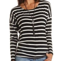 Long Sleeve High-Low Striped Tee