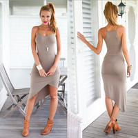 Sexy tight  irregular dress  BTQRJ