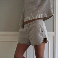 Women's Fashion Hot Sale Print Long Sleeve Cotton Hoodies Shorts Set [11923129427]