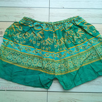 Green Boho Elephant Print Shorts Ikat Summer Beach Women Clothing Tribal Fashion Aztec Ethnic Hobo Cloth Cute Wear with Tank top or Jeans