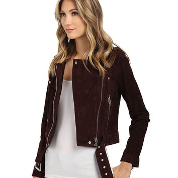 Blank NYC Burgundy Suede Moto Jacket in Morning After