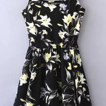 Black Floral Print Strappy Pleated Dress