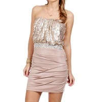 Champagne Sequin Banded Dress
