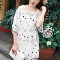 Net Yarn Embroidery Printed Short Sleeved Dress Two Piece