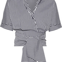 Michael Kors Collection - Cropped gingham cotton-blend poplin wrap top