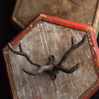 Pewter Antler Hook in Rustic Black