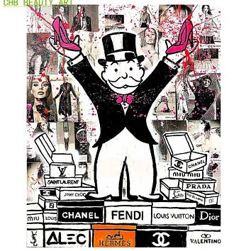 Alec monopoly fashion king art print canvas for wall art decoration oil painting wall painting picture No framed