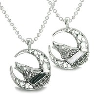 Love Couple Howling Wolf Moon Stars Positive Earth Energy Yin Yang Necklaces