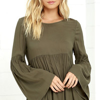 Remember Me Olive Green Long Sleeve Top