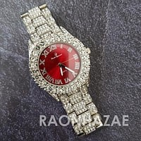 Raonhazae Hip Hop FULLY Iced Lab Diamond 14K White Gold Plated Watch with Red Face Blingy Stones
