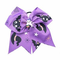7 inch Halloween Spooky Bats and Ghosts Purple Cheer Hair Bow Ponytail Holder
