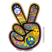 Day/Night Peace Hand Window Sticker on Sale for $2.99 at HippieShop.com