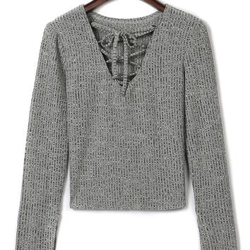 Gray Lattice Lace Up Front Long Sleeve T-shirt