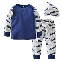Newborn Baby Boy Clothes Long Sleeve Whale Printed Patchwork T-shirt+Pants+Hat Casual Toddler 3pcs Outfits Baby Boys Clothing