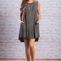 In Need Of A Staycation Dress, Charcoal