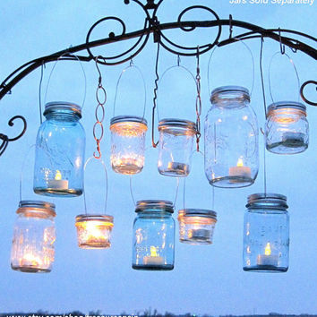 Hanging Mason Jar Lids 10 Outdoor Wedding Candle Holders DIY Canning Jar Hangers Handmade Upcycled Ball Jar Garden Party Lids Only No Jars
