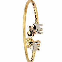 Face Up Elephant Open Cuff 3 Tone Gold Plated Indian Bangle