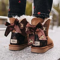 LV Louis Vuitton UGG classic printed alphabet bow mid-cut snow boots Shoes