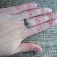 sterling silver marcasite ring with cz detail, size 8