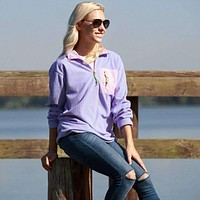 FieldTec Dune Pullover in Lilac Purple with Pink Seersucker Pocket by Southern Marsh