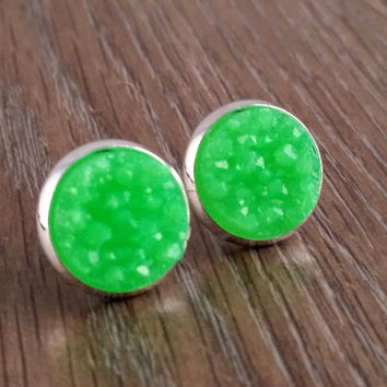 Druzy earrings- bright green drusy silver tone stud druzy earrings