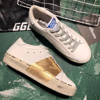 Golden Goose Ggdb Hi Star Sneakers In  White Leather And Gold Leaf Strap - Best Online Sale
