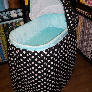 Custom Dots and Minky Bassinet Covers with Sheet