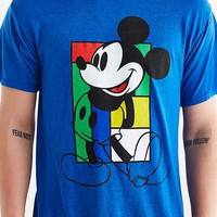 Pop Block Mickey Mouse Burnout Tee- Blue