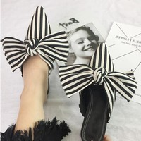 Stripe Bow Pointed Toe Sandals Low Heeled Shoes